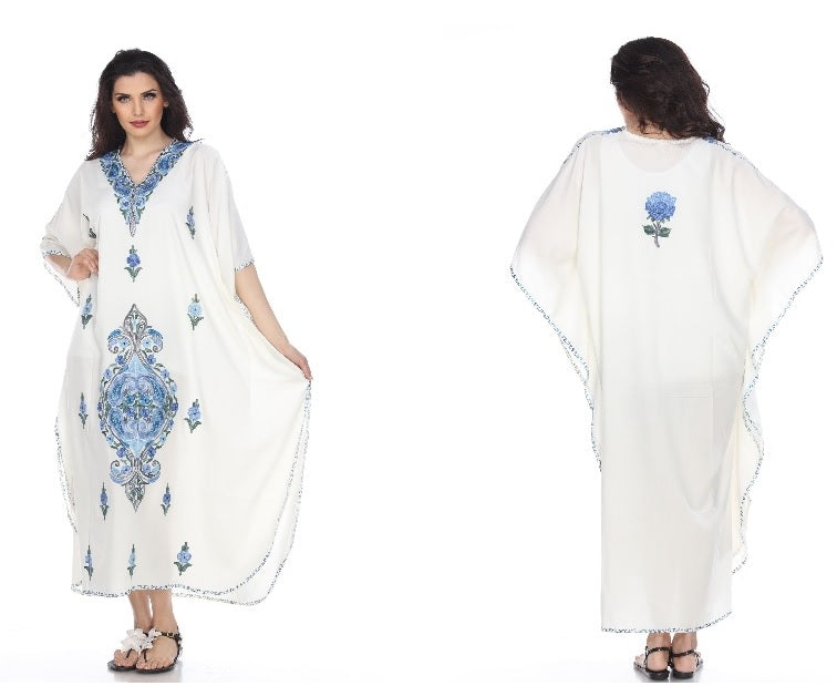 Kaftan (White with Blue Flowers)