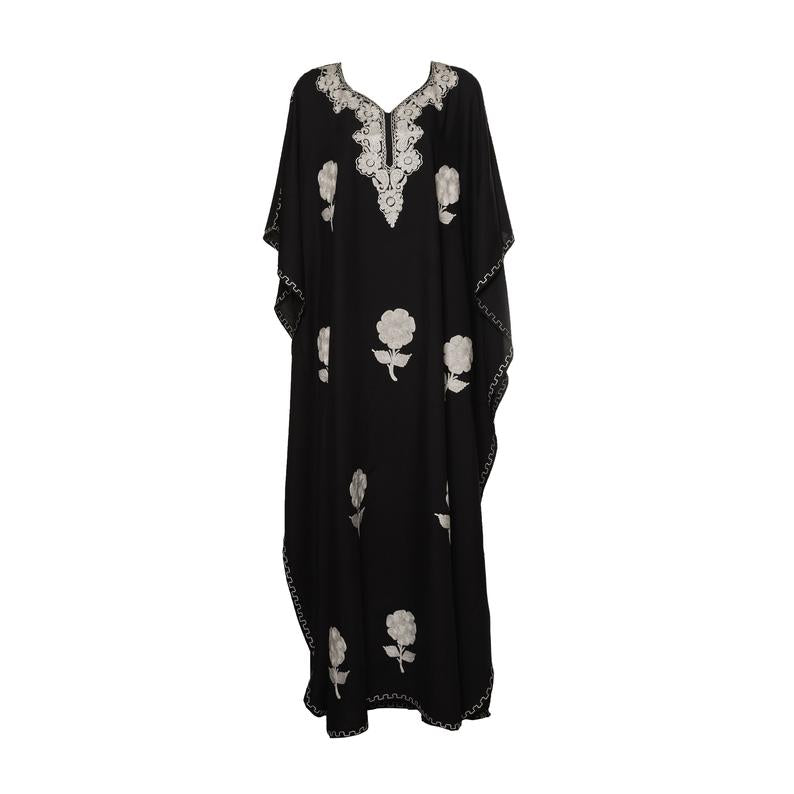 Kaftan (Black with White Flowers)