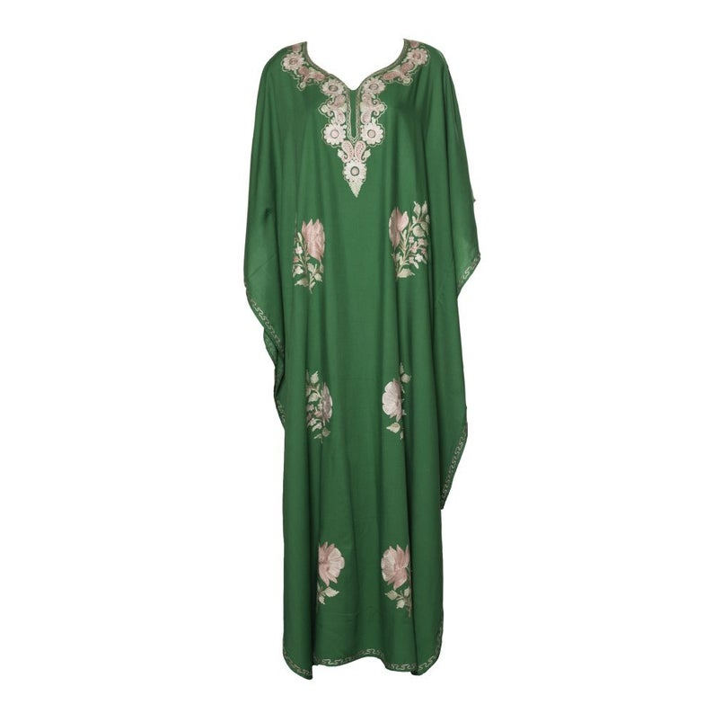 Kaftan (Green with Pink Flowers)