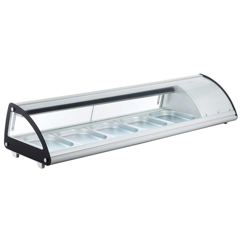 "MSU60 60"" Refrigerated Slanted Curve Sushi Display Case - White"