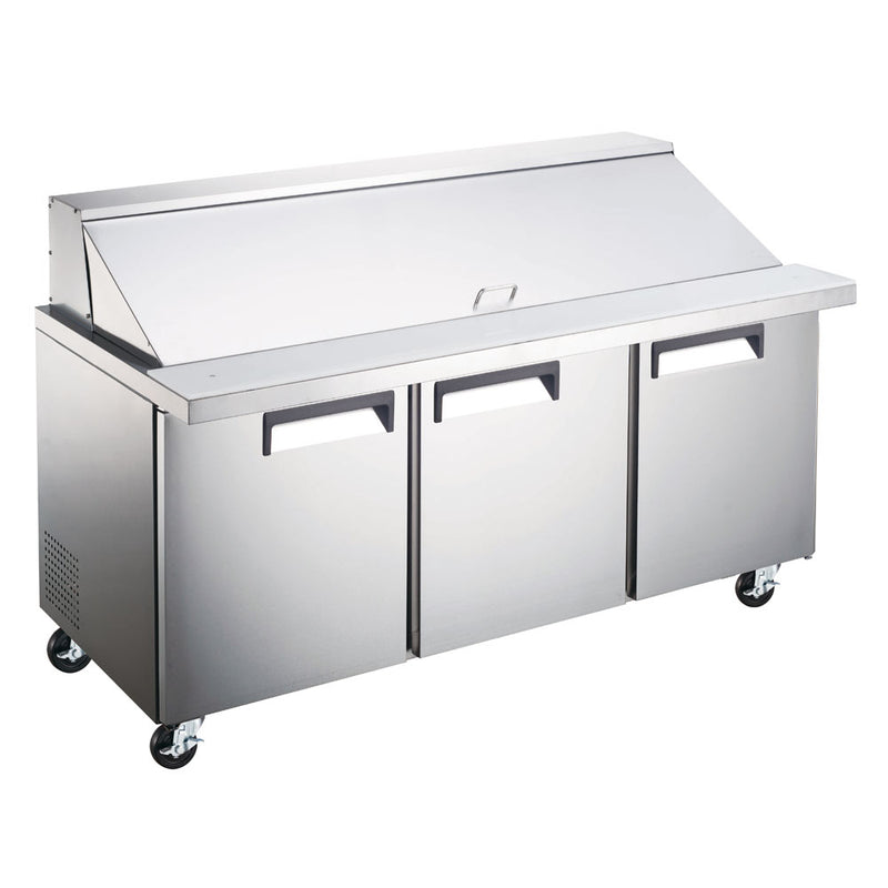 "SCLM3-72 71"" Three Door Mega Top Bain Marie Sandwich Prep Refrigerator - 30 Pans"