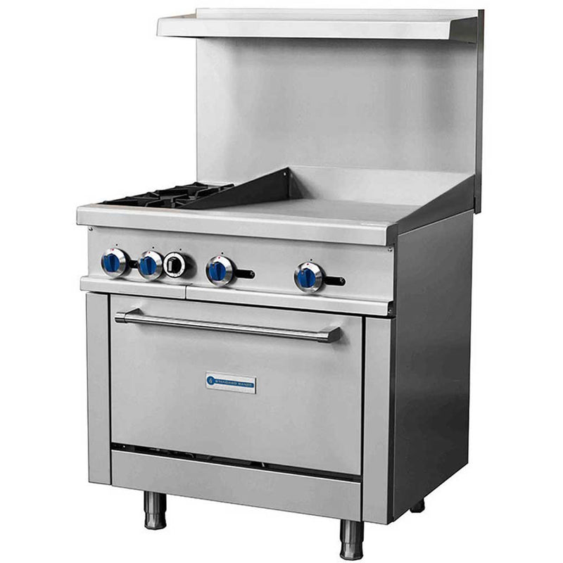 "SR-R36-24MG 36"" Gas Commercial Range with 2 Burner, 24"" Griddle, 1 Oven - 153,000 BTU"