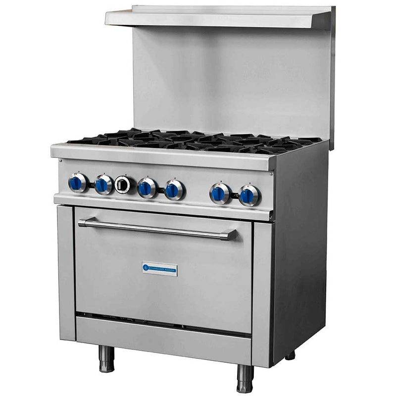"SR-R36 36"" Gas Commercial Range with 6 Burner, 1 Oven - 213,000 BTU"