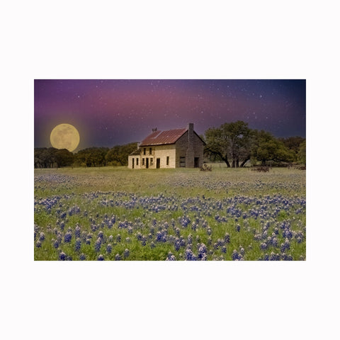 """Bluebonnet House Moonrise"" by digital photographer Mark Holly 