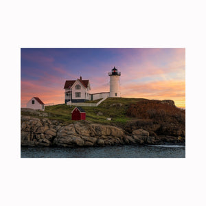 """Nubble Light House at Sunset"" by digital photographer Mark Holly 