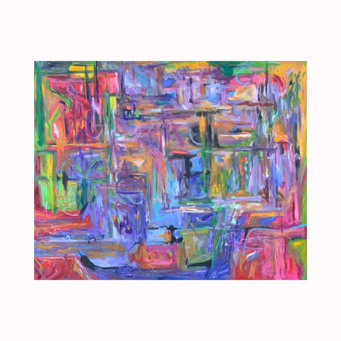 """Look Inside"" is an abstract expressionist painting by Texas artist Robert ""Bob"" Lombardi 