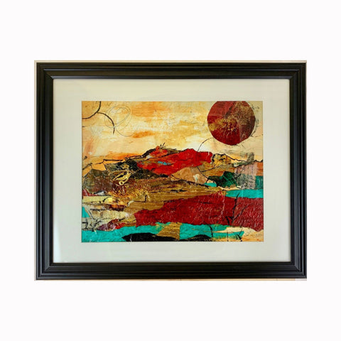 """Red Moon Rising"" is a mixed media landscape painting by Texas artist Sharon Whisnand 