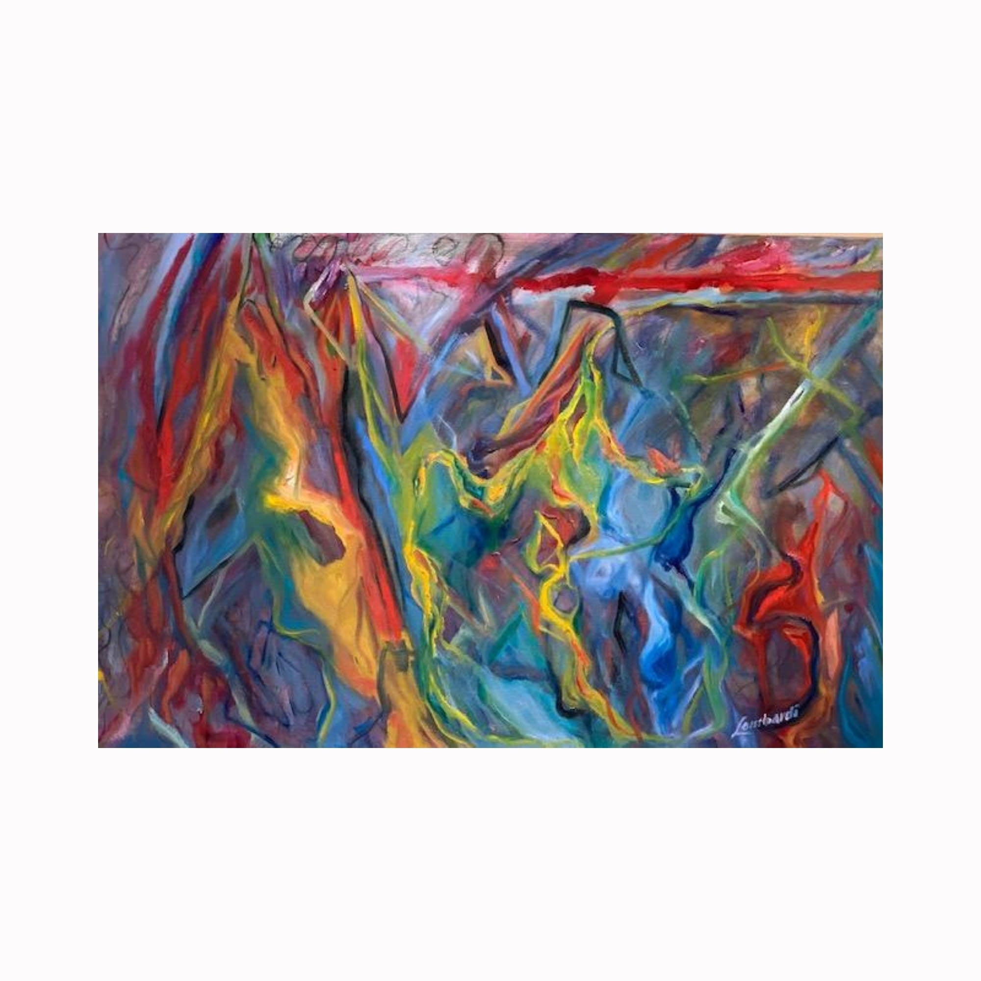 """Static"" is an abstract expressionist painting by Texas artist Robert ""Bob"" Lombardi 