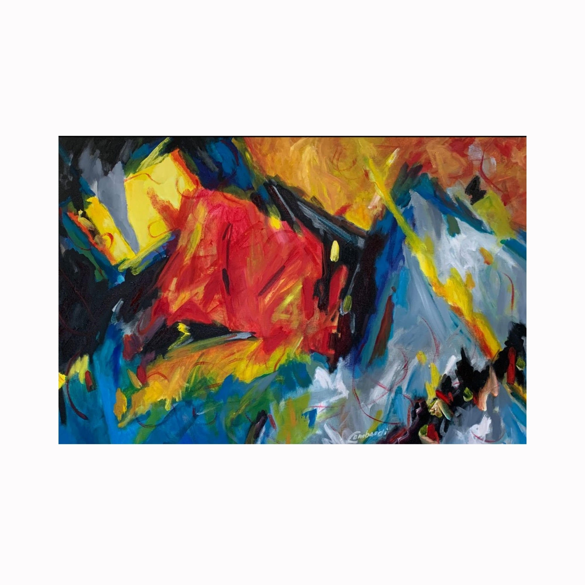 """Talk to Me"" is an abstract expressionist painting by Texas artist Robert ""Bob"" Lombardi 