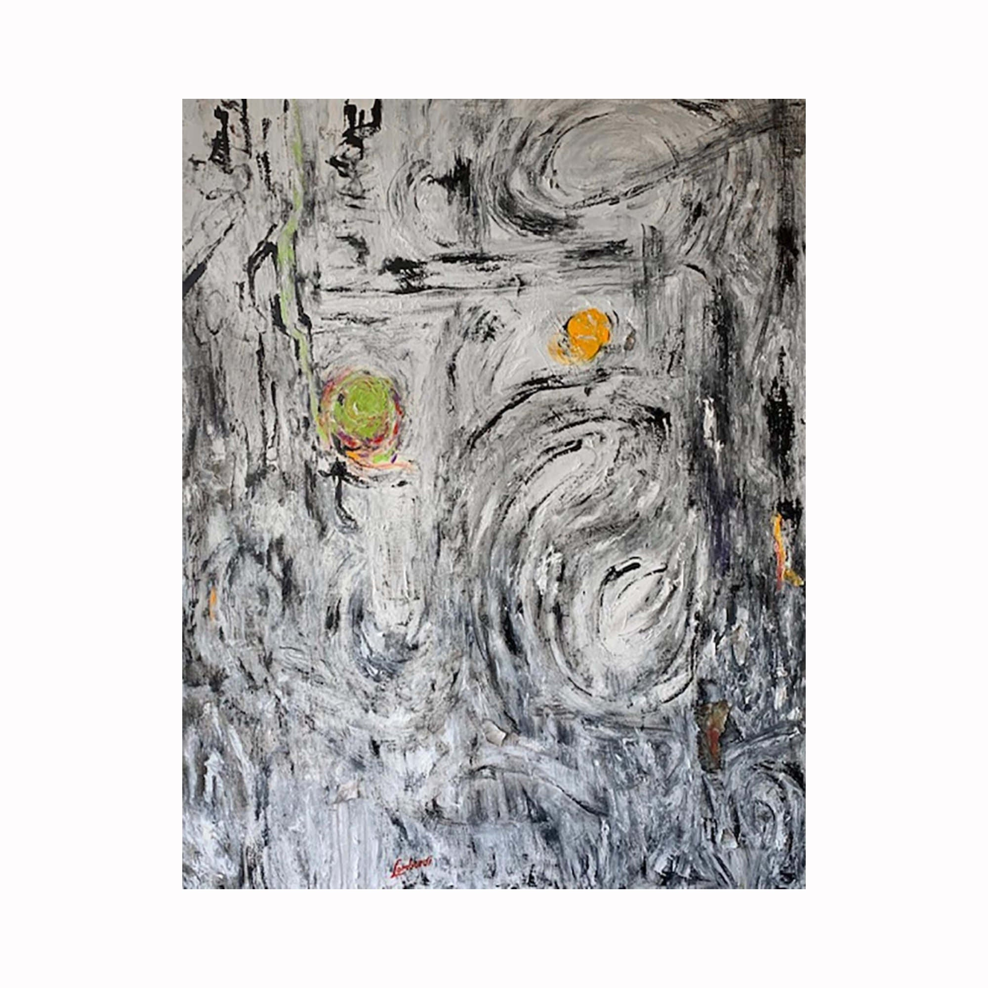 """Time"" is an abstract expressionist painting by Texas artist Robert ""Bob"" Lombardi 