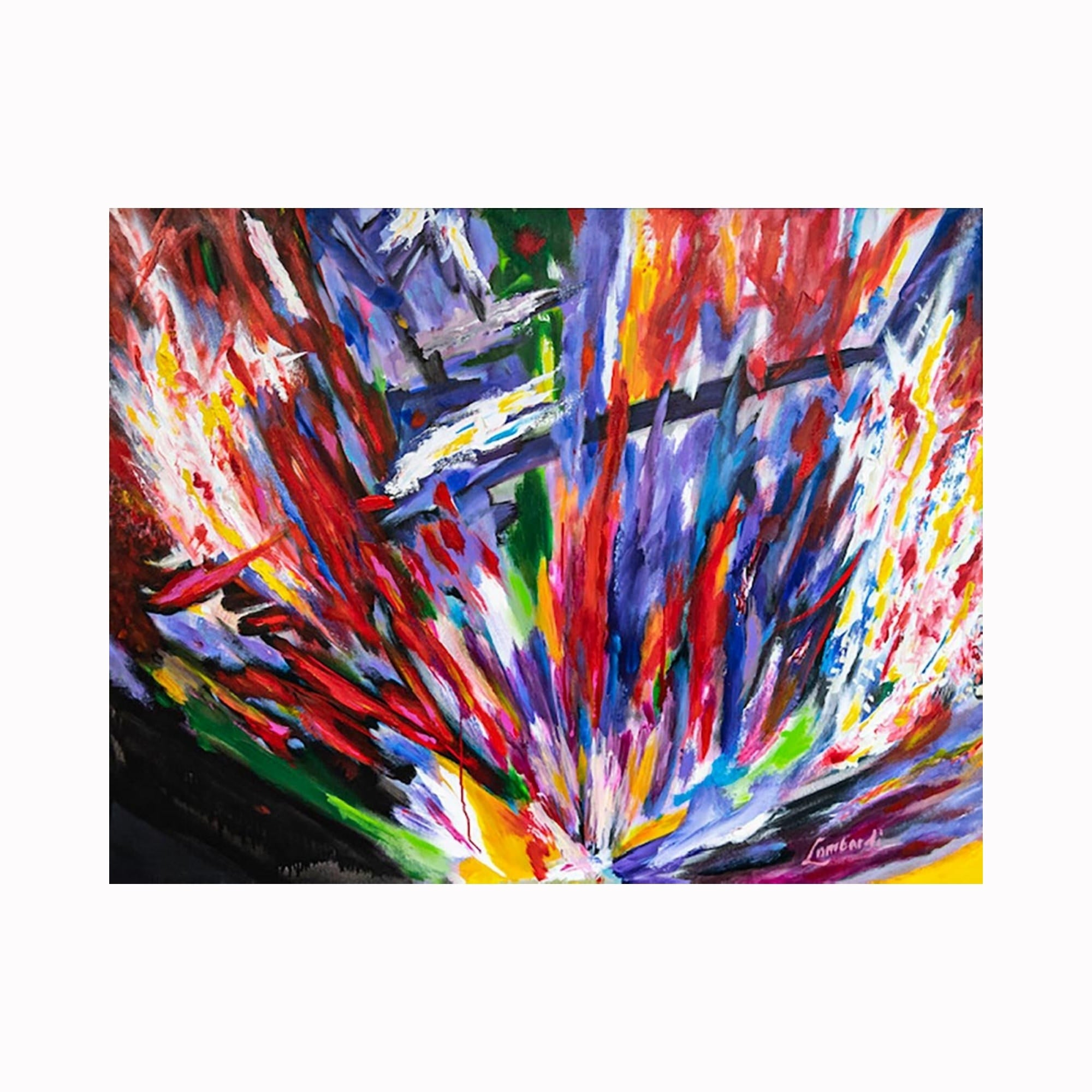 """To the Point"" is an abstract expressionist painting by Texas artist Robert ""Bob"" Lombardi 