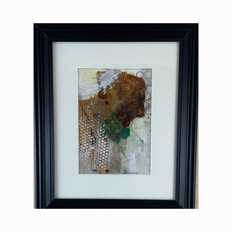 """What News"" is a mixed media abstract painting by Texas artist Sharon Whisnand 