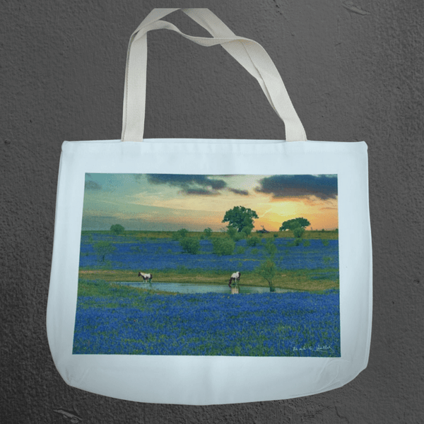 Texas Hill Country canvas tote bags | market bags | art bags | bluebonnets and horses | Texas wildflower animal and nature photography | Mark Holly photography | Shop original art by Texas artists at artasemotion.com | Boerne, San Antonio art gallery with original paintings, photography, and more