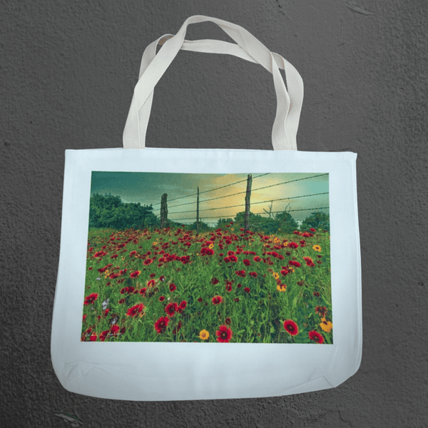 Texas Hill Country canvas tote bags | market bags | art bags | Indian Blankets along a fenceline | Texas wildflower, landscape, nature photography | Mark Holly photography | Shop original art by Texas artists at artasemotion.com | Boerne, San Antonio art gallery with original paintings, photography, and more
