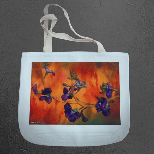 Texas Hill Country canvas tote bags | market bags | art bags | purple orchid flower abstract photograph | Mark Holly photography | Shop original art by Texas artists at artasemotion.com | Boerne, San Antonio art gallery with original paintings, photography, and more