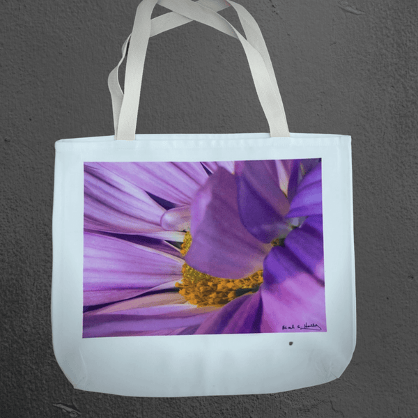 Texas Hill Country canvas tote bags | market bags | art bags | purple flower macro photography | Mark Holly photography | Shop original art by Texas artists at artasemotion.com | Boerne, San Antonio art gallery with original paintings, photography, and more