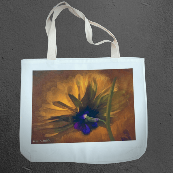 Texas Hill Country canvas tote bags | market bags | art bags | yellow flower with blue orchid macro photography  | Mark Holly photography | Shop original art by Texas artists at artasemotion.com | Boerne, San Antonio art gallery with original paintings, photography, and more