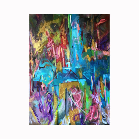 """Live"" is an abstract expressionist painting by Texas artist Robert ""Bob"" Lombardi 