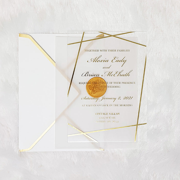 Clear Wedding Invitation, Rigid Acrylic Invitation, Geometric Design