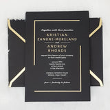Black and White Wedding Invitations | Luxury Black, Gold Wedding Invites