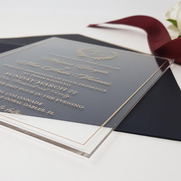 Modern Clear Rigid Wedding Acrylic Invitation with Gold Ink