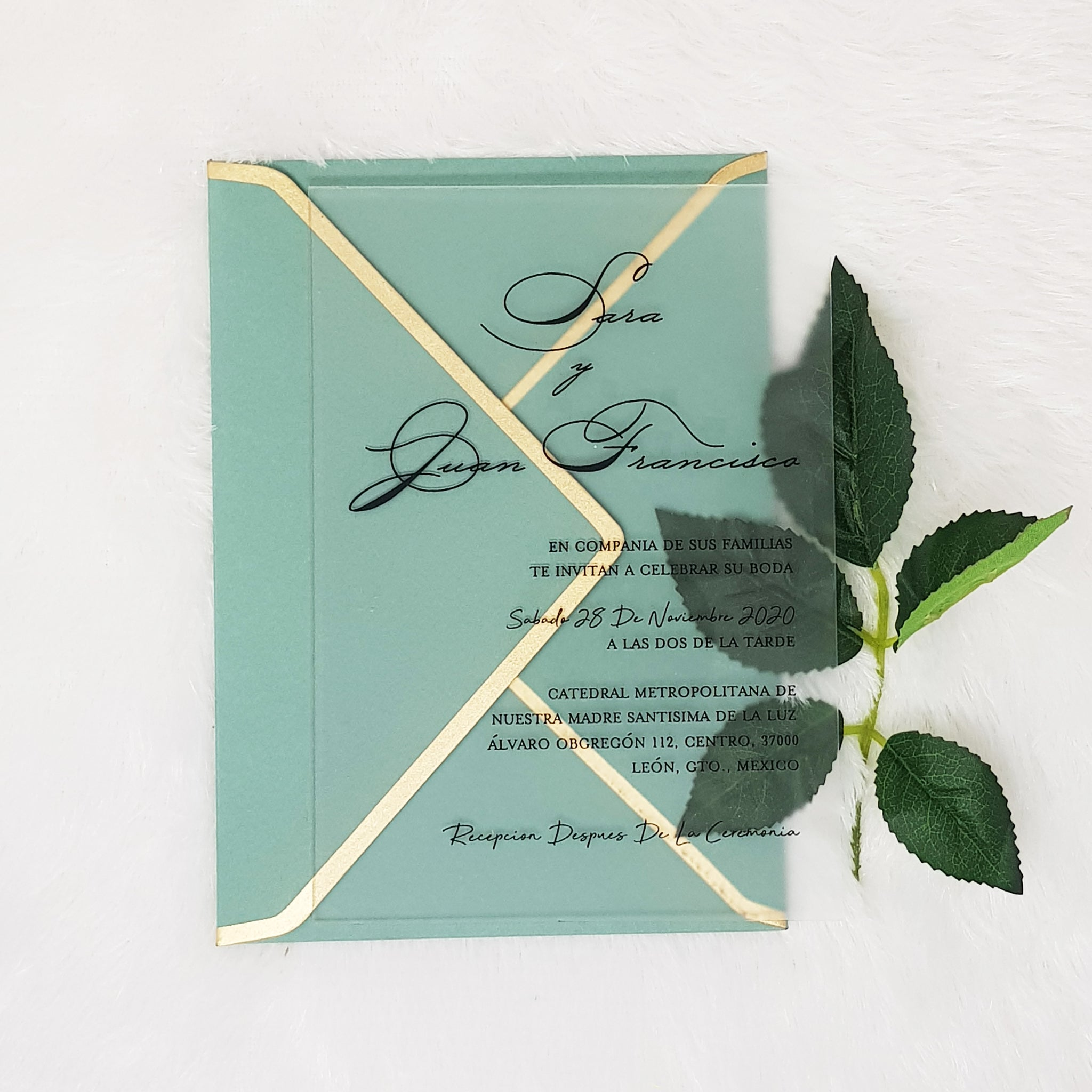 Frosted Acrylic Wedding Invitations with Black Ink and Saga Green Envelopes