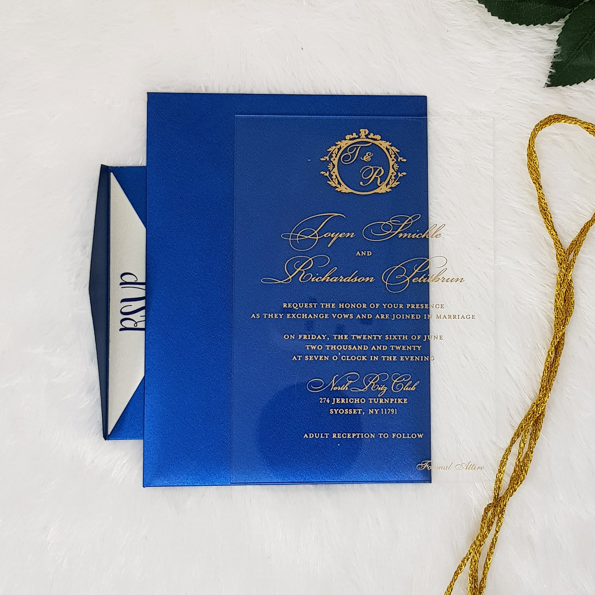 Luxury Clear and Gold Wedding Invitation with Blue Envelopes