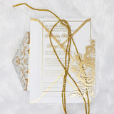 Clear Acrylic Wedding Invitations with Shimmer Gold Ink