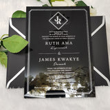 Dazzling Black & Silver Acrylic Invitation | Invitation for Wedding