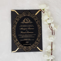 Vintage Black Acrylic Invite with Gold Print AI-115