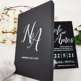 Luxury Black & Silver Box with Black Acrylic Wedding Invite