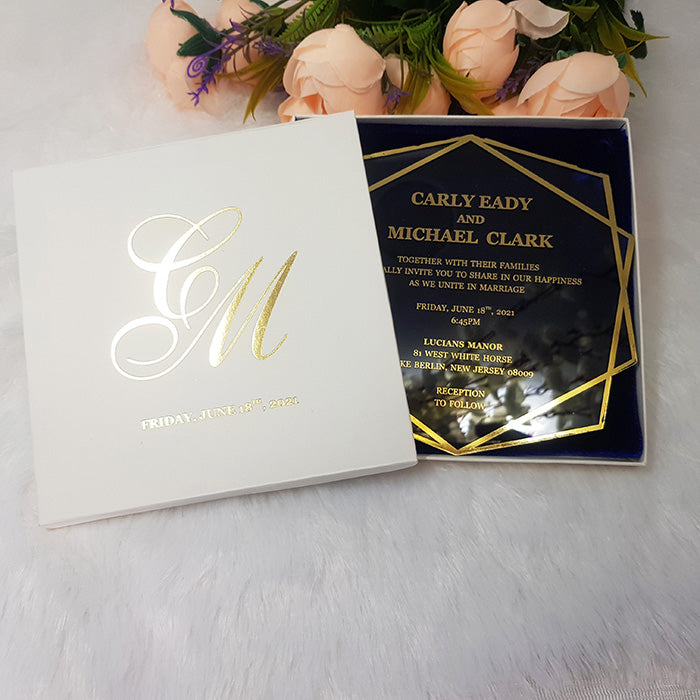 Royal Foil Stamped Acrylic Wedding Invitation