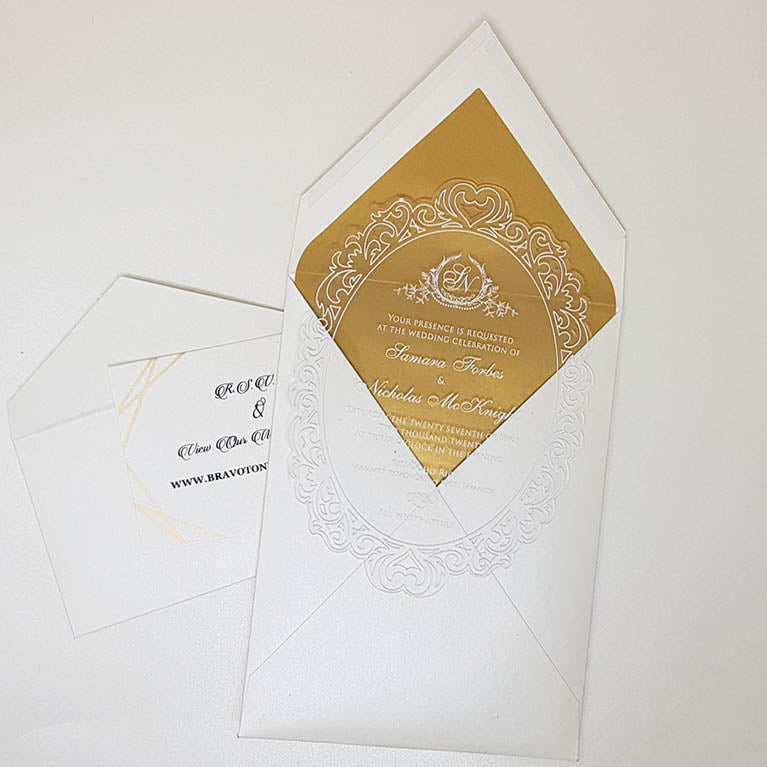 Vintage Clear Wedding Invitation with White Ink AI-118