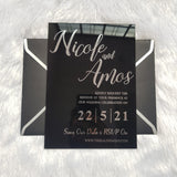 Black Acrylic Wedding Invitation with Real Silver Foil