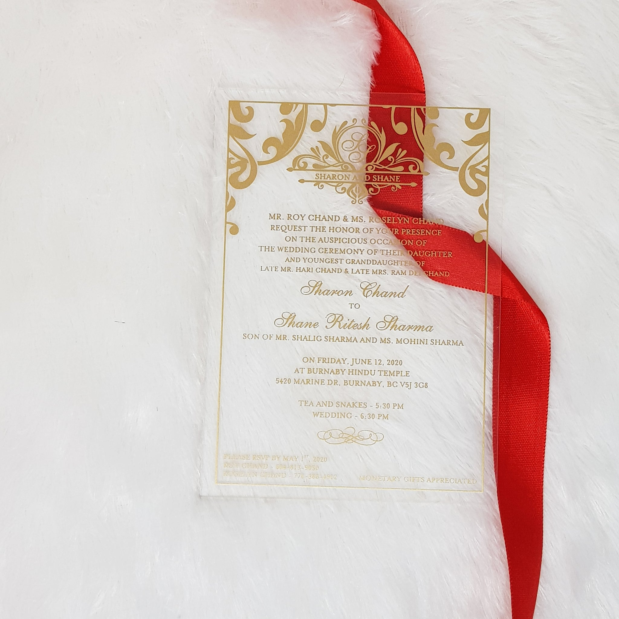 Clear Invitation, Transparent Invitation for Wedding with Gold Print