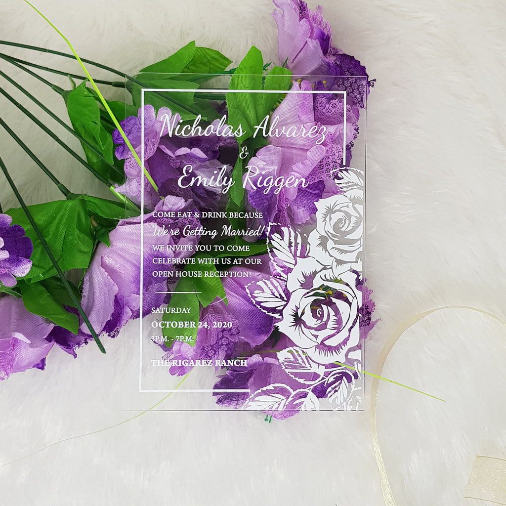 Clear Acrylic Wedding Invitation with White Ink | Transparent Invitations
