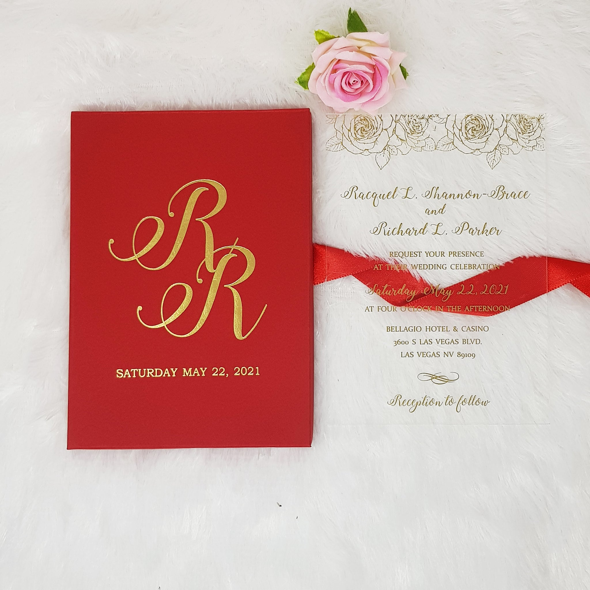 Luxury Boxed Acrylic Wedding Invitation with Real Gold Foil Printing