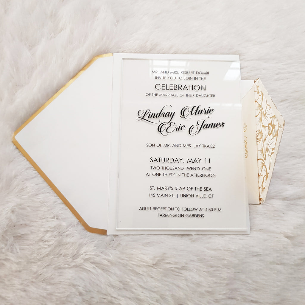 Elegant Clear/Transparent Wedding Invitation with Black Ink Printing