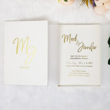 Luxury Unique Boxed Wedding Invitation, Elegant Acrylic invitation, Real Gold Foil, Calligraphy