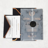 Black & Rose Gold Gorgeous Wedding Invitations with Vellum Wrap and Wax Seal