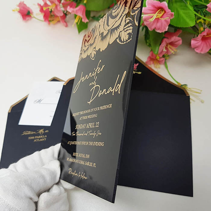 Black Rigid Acrylic Wedding Invitation with Rose Designs