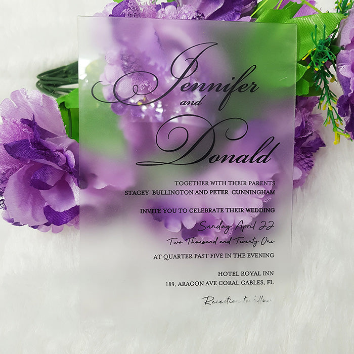 Frosted Acrylic Wedding Invitation, Frosted Acrylic Invite