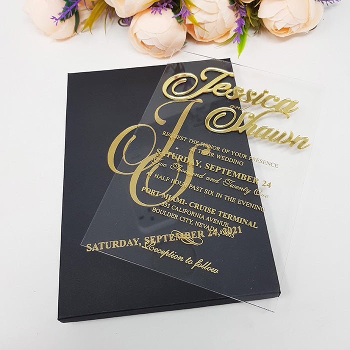 Regal Boxed Custom Acrylic Invitation with 3D Gold Names