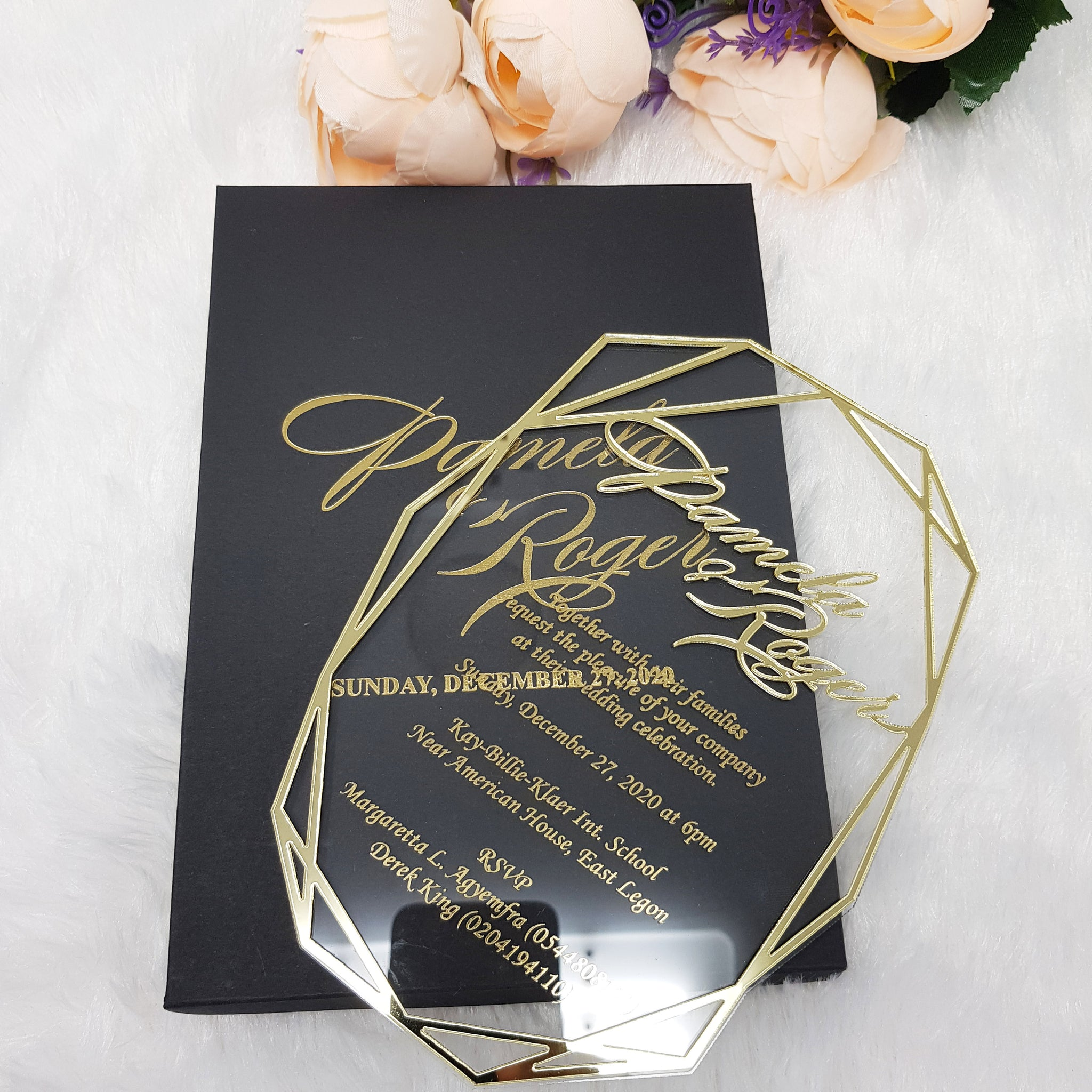 Luxury Geometric Acrylic Wedding Invitation with 3D Gold Frame
