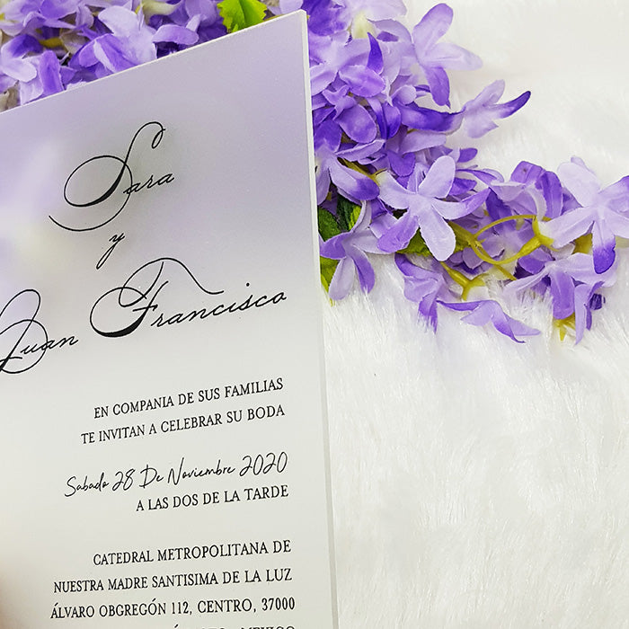 Unique Frosted Plexi Invitation with Black Print
