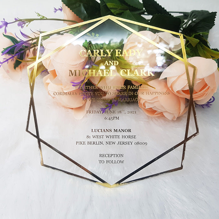 Hexagon Shape Acrylic Foil Printed Invitation