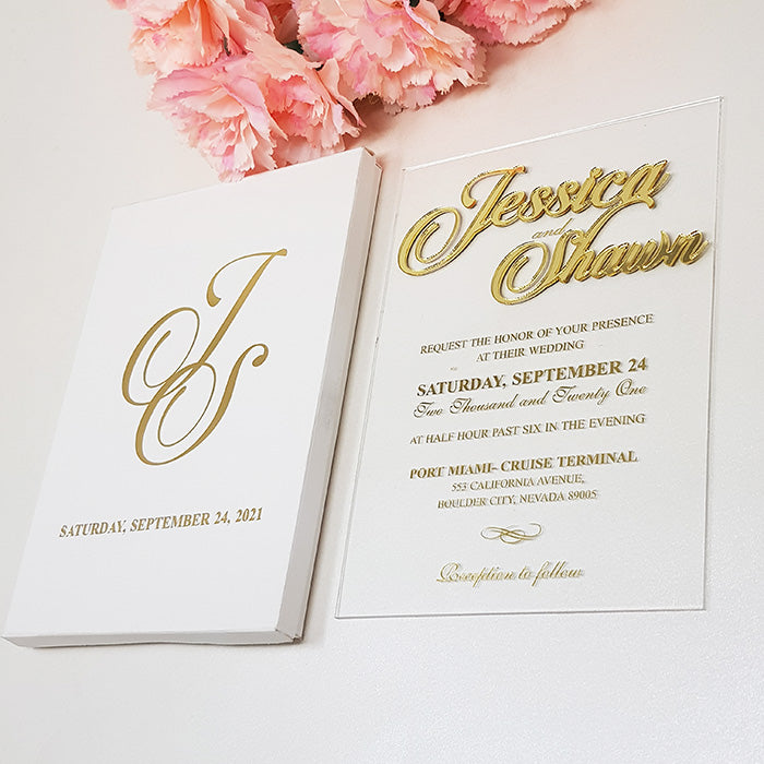 Handmade Custom Box Wedding Invitation with 3D Gold Names