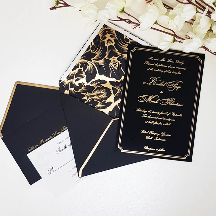Black Envelope Invitation for Wedding with Gold Border