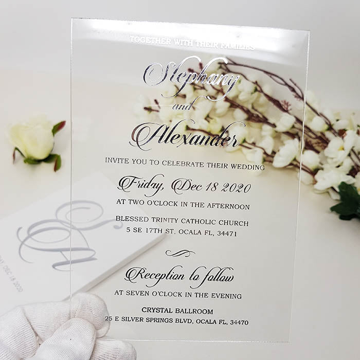 White & Silver Boxed Acrylic Invitation AI-111