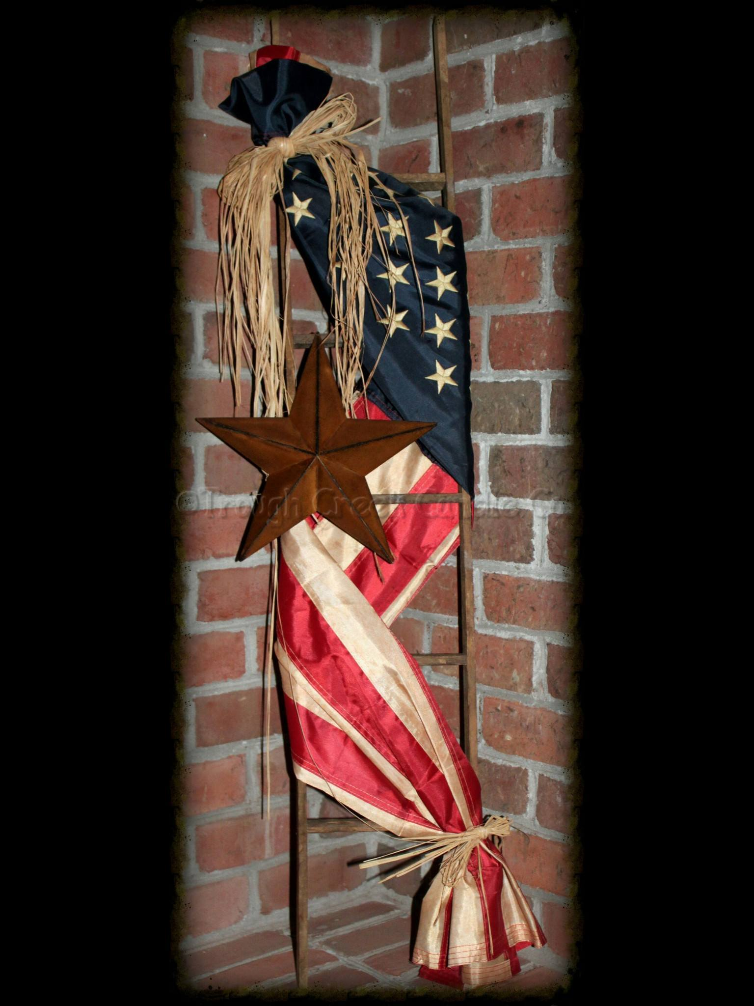 Replica Americana Flag Tobacco Lath Ladder with Rusty Tin Star - Especially For You Home Decor